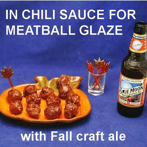Jamaican Orange Chili Sauce Glazed Meatballs and pumpkin ale Fall