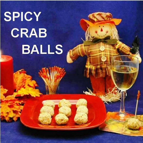 Jamaican Orange Crab Balls and white wine Fall