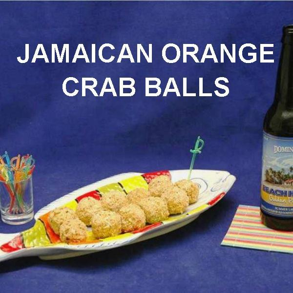 Jamaican Orange Crab Balls and seasonal craft ale