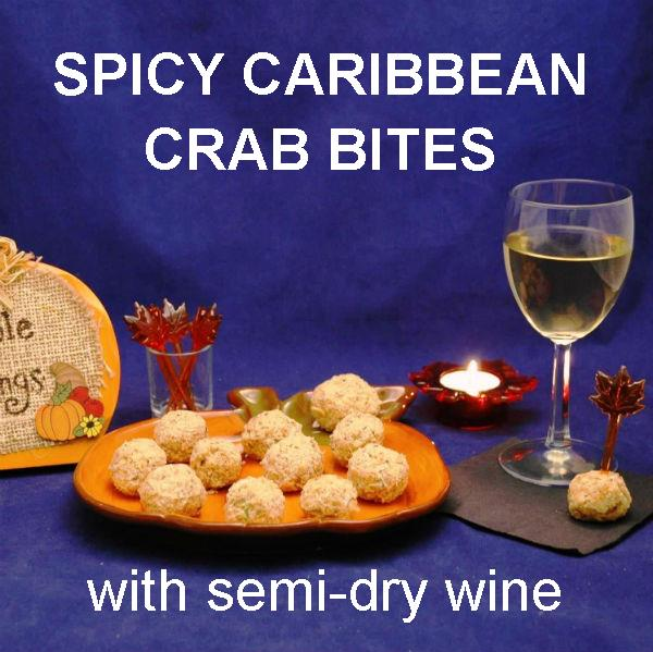 Jamaican Orange Crab Balls and white wine Thanksgiving appetizer