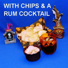 Load image into Gallery viewer, Halloween Jamaican Orange dip with chips and a rum cocktail