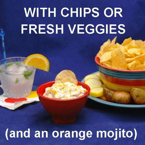 Jamaican Orange Dip with plantain chips and veggies served with an Orange Mojito