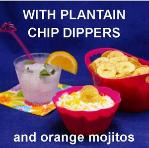 Jamaican Orange Dip with Plantain Chips and Orange Mojito Summer