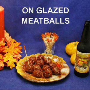 Jamaican Orange Cranberry Glazed Meatballs and seasonal ale Thanksgiving appetizer