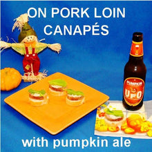 Load image into Gallery viewer, Jamaican Orange Pork Loin Canapés with white cheese and mint leaves garnish, served with pumpkin ale Fall
