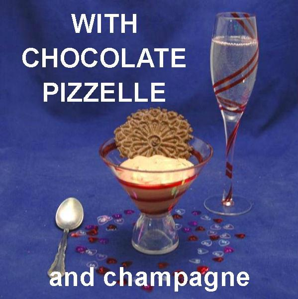 Kahlua Chocolate Mousse with chocolate pizzele and champagne Valentine's
