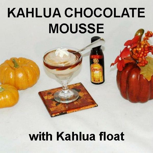 Kahlua Chocolate Mousse in margarita glass with Kahlua float Fall