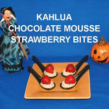 "Load image into Gallery viewer, ""Strawberries nestled in Kahlua Chocolate Mousse, served in black tasting spoons Halloween """