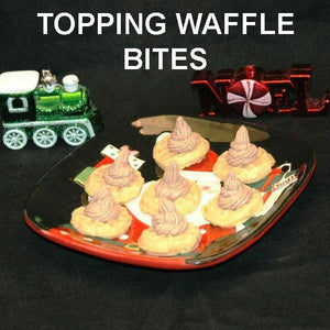 Waffle Bites topped with Kahlua Chocolate Mousse Christmas