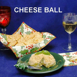 Lemon Pesto Cheese Ball with crackers and white wine Christmas