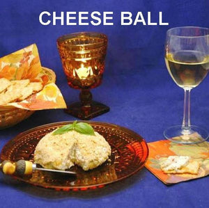 Lemon Pesto Cheese Ball with crackers and white wine Fall