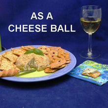 Load image into Gallery viewer, Lemon Pesto Cheese Ball with crackers and white wine Summer