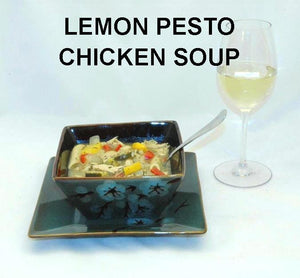 Lemon Pesto Soup with Chicken, red peppers, yellow squash, mushrooms and noodles, served with white wine