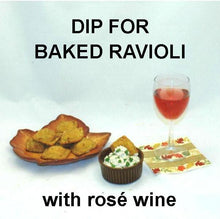 Load image into Gallery viewer, Toasted Ravioli with Lemon Pesto Dip, served with rose wine Fall