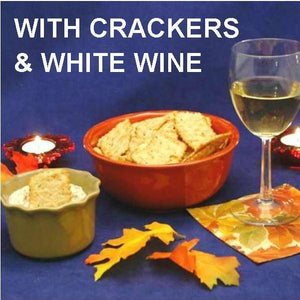 Lemon Pesto Dip with crackers and white wine Fall