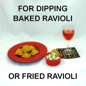 Toasted Ravioli with Lemon Pesto Dip, served with rose wine