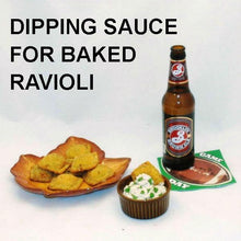 Load image into Gallery viewer, Baked Ravioli with Lemon Pesto Dip, served with brown ale Football