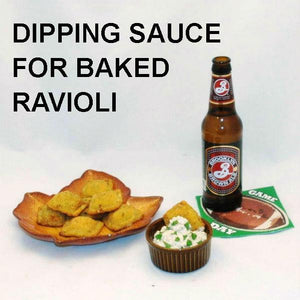 Baked Ravioli with Lemon Pesto Dip, served with brown ale Football