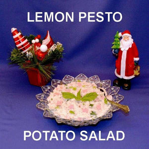 Lemon Pesto Potato Salad with ham and scallions Christmas