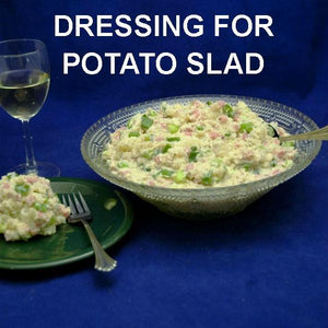 Lemon Pesto Potato Salad with ham and scallions, served with white wine