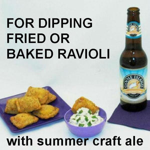 Toasted Ravioli with Lemon Pesto Dip, served with summer craft ale