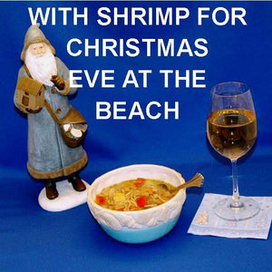 Lemon Pesto Soup with shrimp, red peppers, yellow squash and mushrooms, served with white wine Beach Christmas
