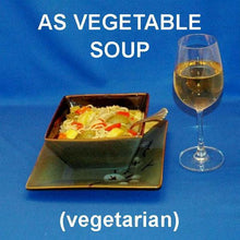 Load image into Gallery viewer, Lemon Pesto Soup with red peppers, yellow squash, zucchini, mushrooms and noodles served with white wine
