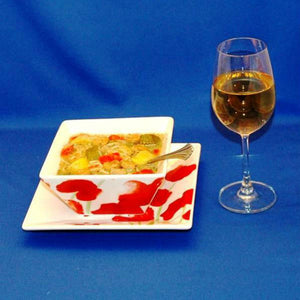 Lemon Pesto Soup with Shrimp, red peppers, yellow squash, mushrooms and noodles, served with white wine Summer