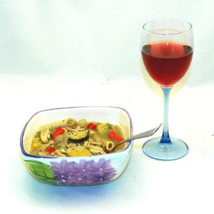 Lemon Pesto Soup with Chicken, red peppers, yellow squash, zucchini, mushrooms and noodles, served with rose wine