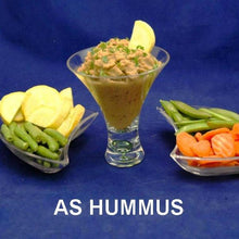 Load image into Gallery viewer, Madras hummus with fresh yellow squash, sugar snap peas, carrots and green bean dippers