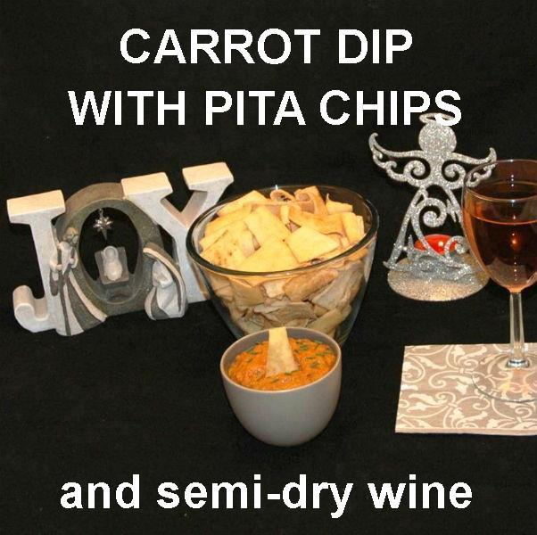 Madras vegetarian Carrot Dip with pita chips and rose wine Christmas