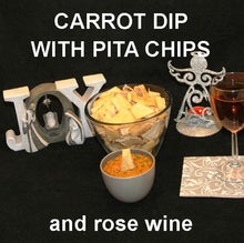 Load image into Gallery viewer, Madras vegetarian Carrot Dip with pita chips and rose wine Christmas