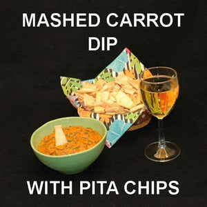 Madras vegetarian Carrot Dip with pita chips, served with white wine