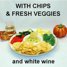 Load image into Gallery viewer, Mango Curry Dip with fresh raw sugar snap peas, yellow squash, mushrooms dippers and more, served with white wine Fall