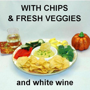 Mango Curry Dip with fresh raw sugar snap peas, yellow squash, mushrooms dippers and more, served with white wine Fall