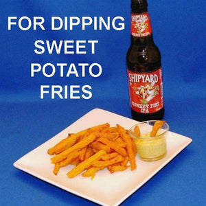Sweet potato fries with Mango Curry Dip served with IPA ale