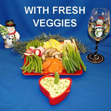 Load image into Gallery viewer, Mango Curry Dip with fresh raw sugar snap peas, yellow squash, mushrooms dippers and more, served with white wine Christmas