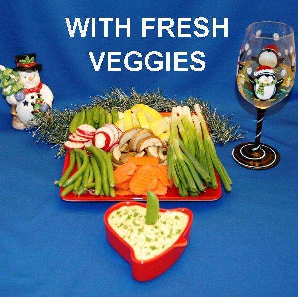 Mango Curry Dip with fresh raw sugar snap peas, yellow squash, mushrooms dippers and more, served with white wine Christmas