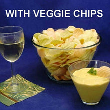 Load image into Gallery viewer, Mango Curry Dip with veggie chip (carrot, spinach and potato) dippers, served with white wine Summer