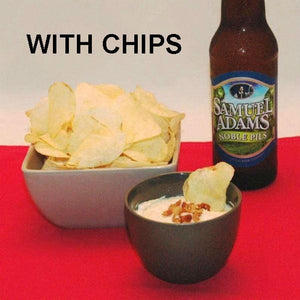 Maple Horseradish mayonnaise and sour cream chip dip garnished with bacon crumbles, served with ale