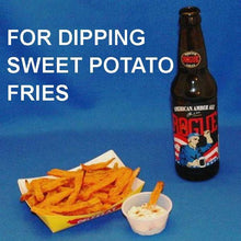 Load image into Gallery viewer, Sweet potato fries dipped in Maple Horseradish Dip served with Amber ale