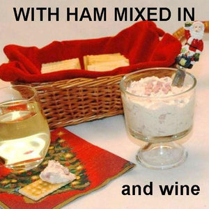 Maple Horseradish mayonnaise and sour cream chip dip with cubed ham, served with white wine Christmas