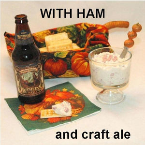 Maple Horseradish mayonnaise and sour cream chip dip with cubed ham, served with craft ale Fall