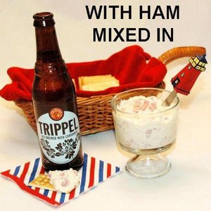 Maple Horseradish mayonnaise and sour cream chip dip with cubed ham served with ale July 4