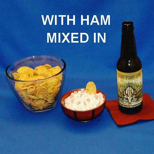 Maple Horseradish Ham Dip and corn chips served with ale