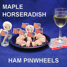 Load image into Gallery viewer, Ham Pinwheels filled with Maple Horseradish Dip, July 4th party appetizer served with white wine