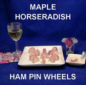 Girls' night in party appetizer, Ham Pin Wheels filled with Maple Horseradish Dip, served with white wine