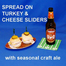Load image into Gallery viewer, Turkey sliders with Maple Horseradish spread, served with pumpkin ale Football