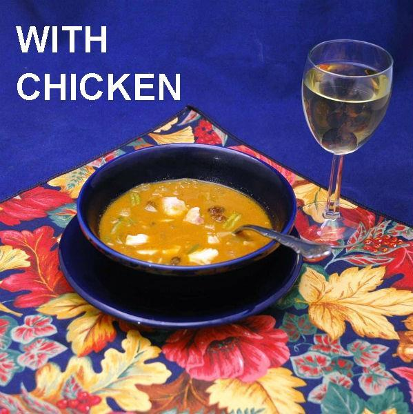 Moroccan Chicken Soup served with white wine Fall