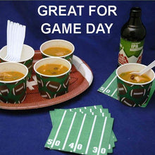 Load image into Gallery viewer, Moroccan Chicken Soup in snack cups, served with ale Football